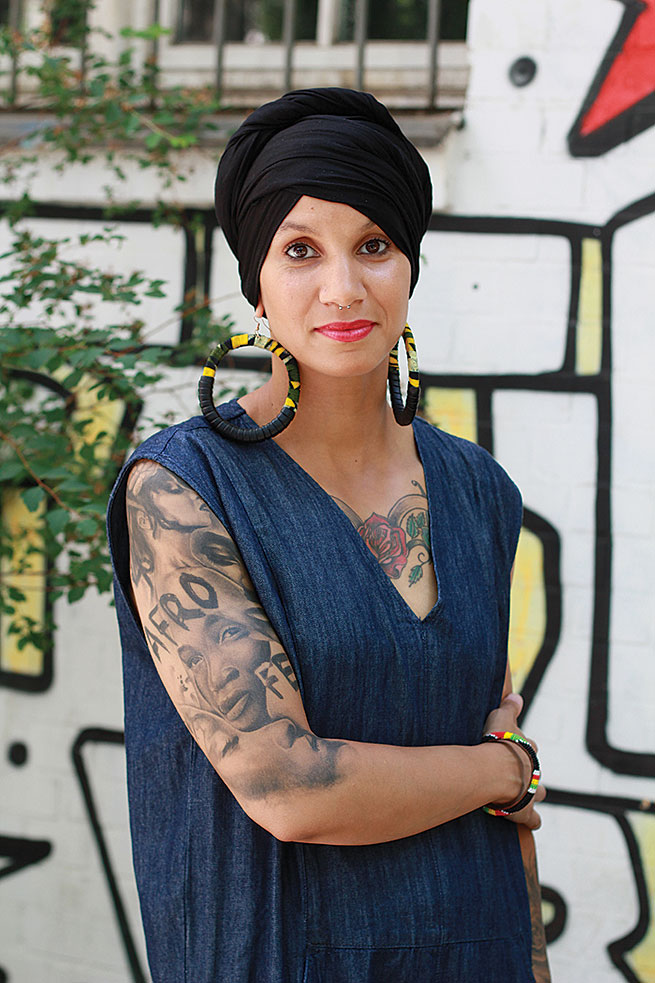 """Leila """"My hijab is political, my hijab is resistance. I am covered in tattoos so when people see me with a hijab, they're always shocked. Some non-Muslims like to tell me that I shouldn't have tattoos or dress this way. I just want to say , 'It's between me and Allah!' """" Photo by: Samra Habib"""